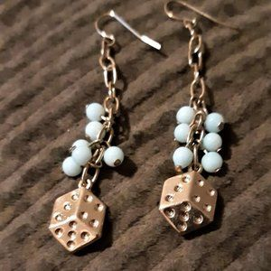 Tiny dangling earring dice with blue beads